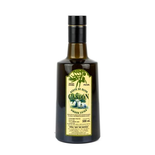 Botella Irrellenable 500 ml. vídrio Picual de Aceite de Oliva Virgen Extra