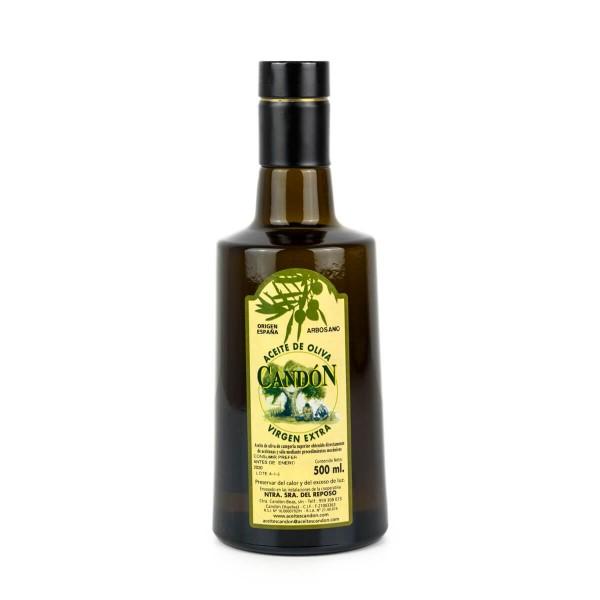 Botella Irrellenable 500 ml. vídrio Arbosano de Aceite de Oliva Virgen Extra